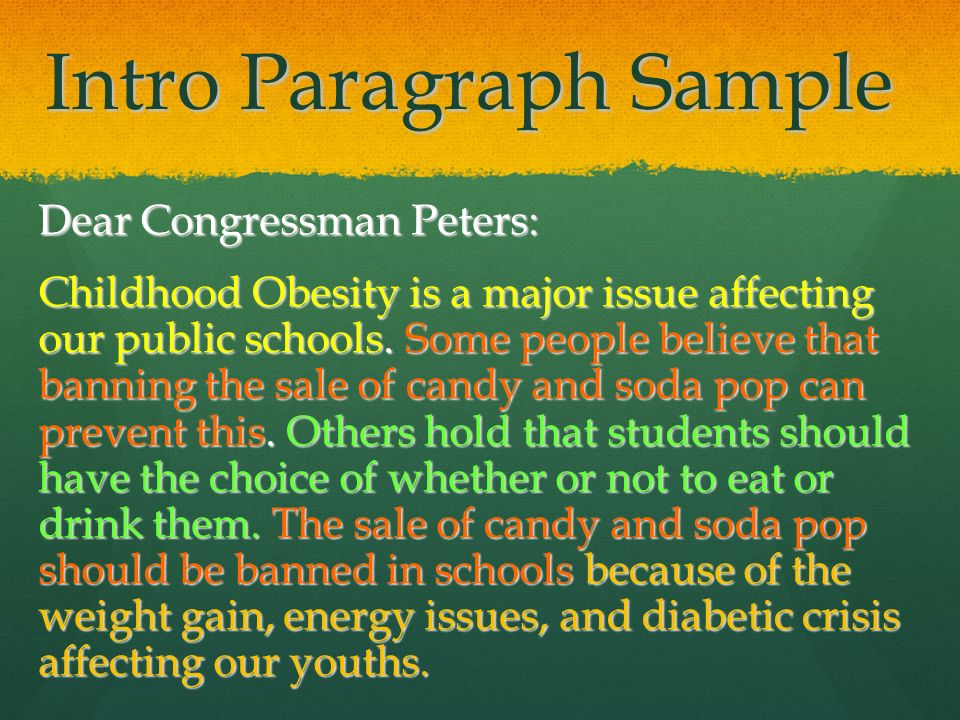 sustainability letter to legislators model five paragraph  intro paragraph sample dear congressman peters childhood obesity is a major issue affecting our public