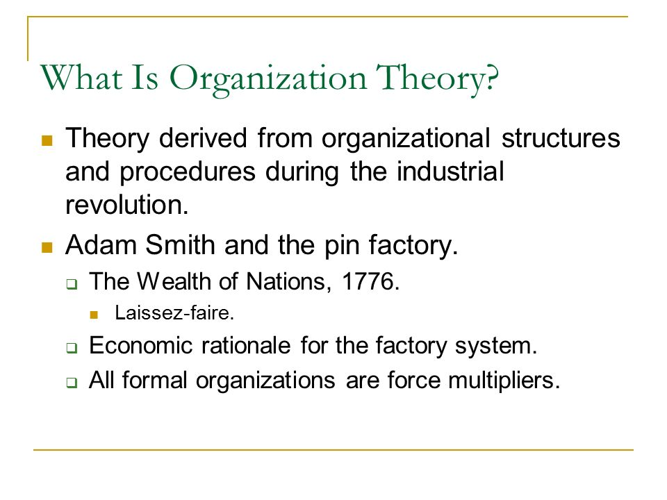 What Is Organization Theory.