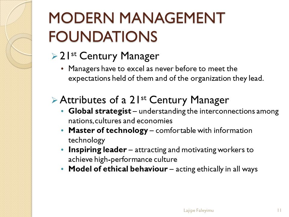 MODERN MANAGEMENT FOUNDATIONS  21 st Century Manager Managers have to excel as never before to meet the expectations held of them and of the organiza