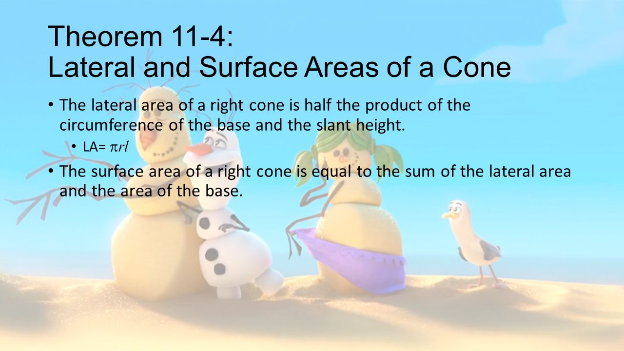 Theorem 114: Lateral And Surface Areas Of A Cone The Lateral Area Of