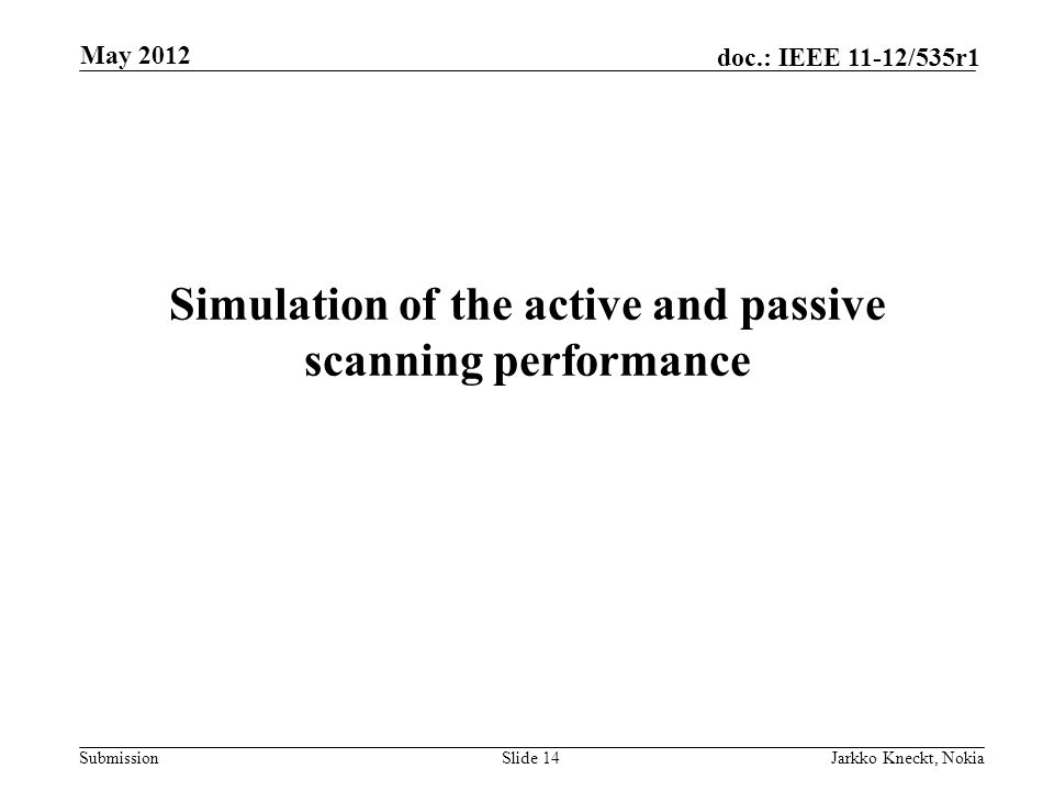 Submission doc.: IEEE 11-12/535r1 Simulation of the active and passive scanning performance May 2012 Jarkko Kneckt, NokiaSlide 14