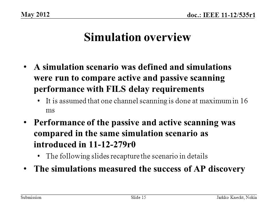 Submission doc.: IEEE 11-12/535r1 Simulation overview A simulation scenario was defined and simulations were run to compare active and passive scanning performance with FILS delay requirements It is assumed that one channel scanning is done at maximum in 16 ms Performance of the passive and active scanning was compared in the same simulation scenario as introduced in r0 The following slides recapture the scenario in details The simulations measured the success of AP discovery Slide 15Jarkko Kneckt, Nokia May 2012