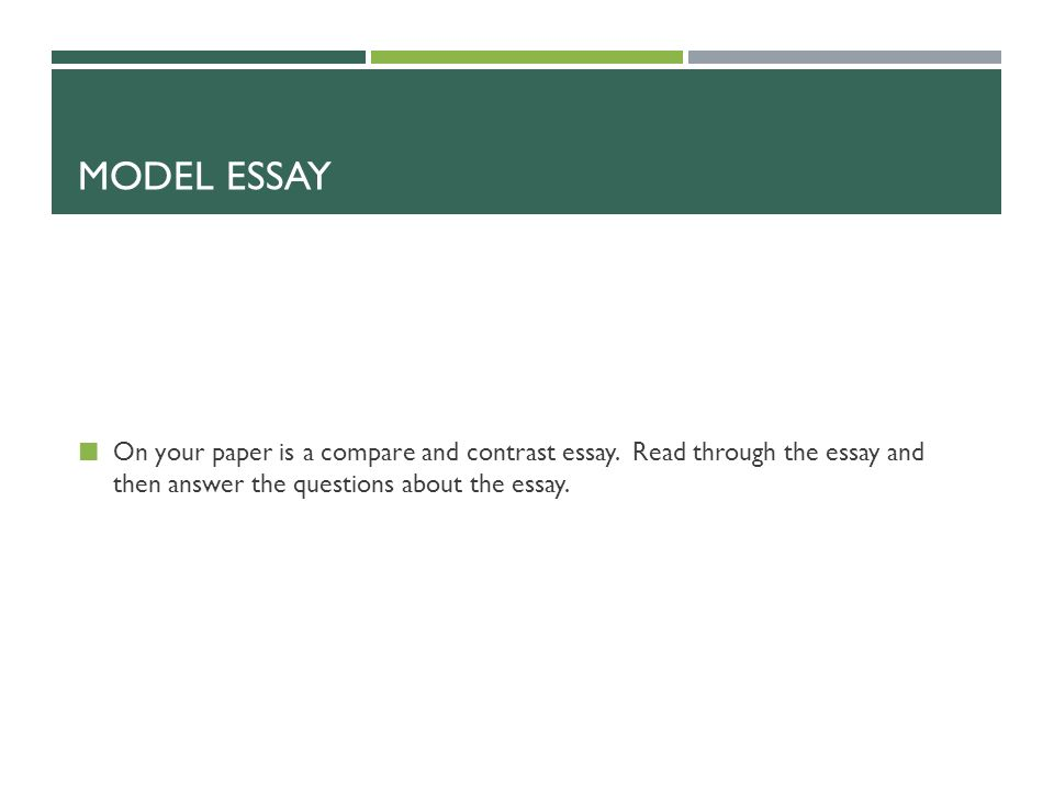 compare and contrast writing do these activities on your own paper  20 model essay