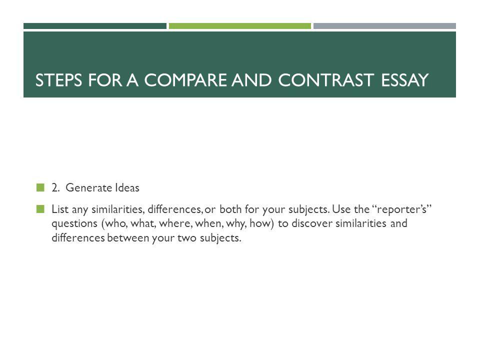 ideas for compare and contrast essay List of good and easy topics for compare and contrast essay, essaybasicscom.