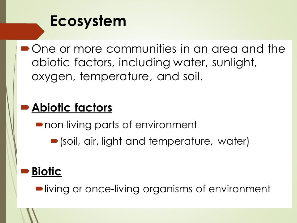 Ecosystem  One or more communities in an area and the abiotic factors, including water, sunlight, oxygen, temperature, and soil.