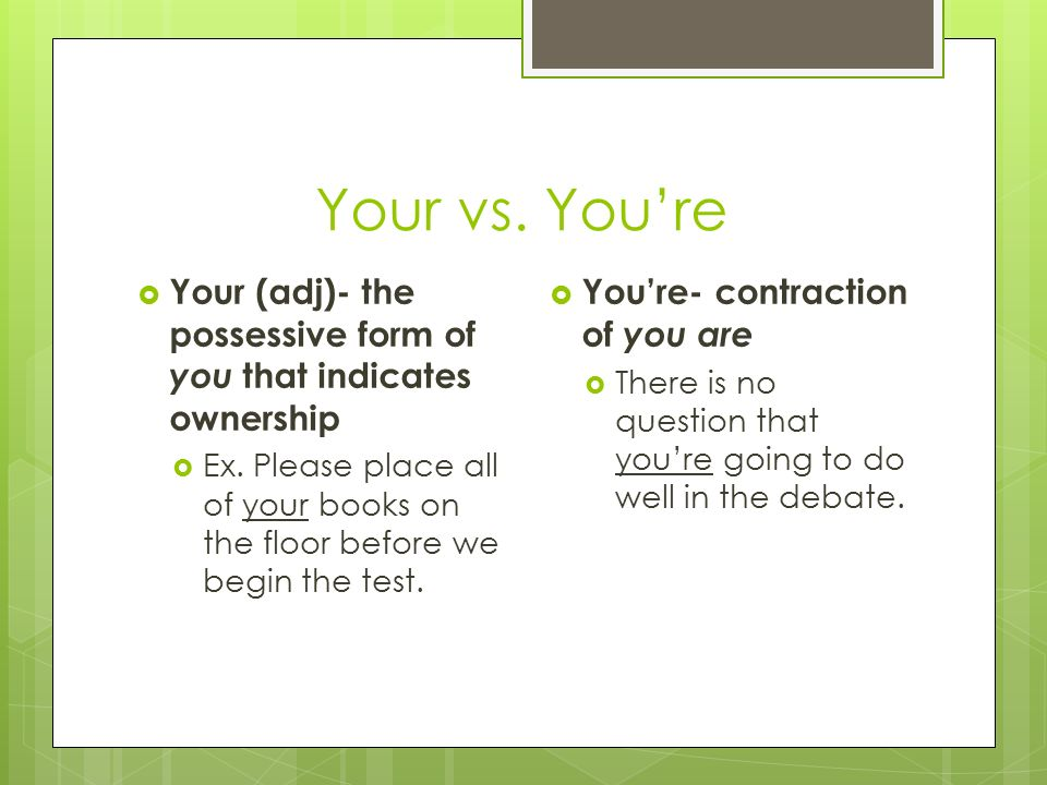 Commonly Confused Words. Your vs. You're  Your (adj)- the ...