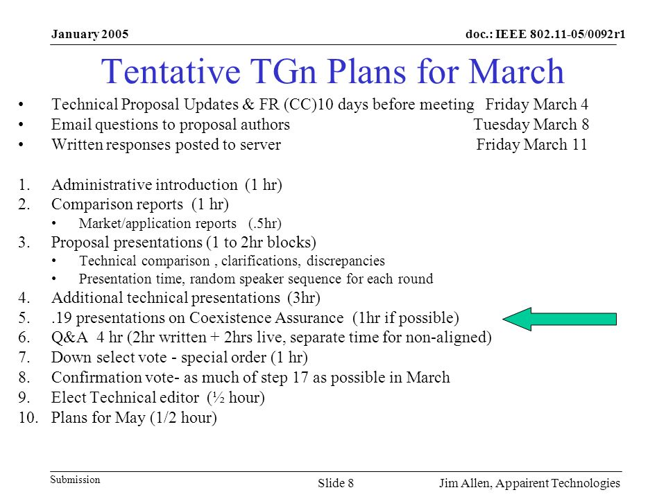 doc.: IEEE /0092r1 Submission January 2005 Jim Allen, Appairent TechnologiesSlide 8 Tentative TGn Plans for March Technical Proposal Updates & FR (CC)10 days before meeting Friday March 4  questions to proposal authors Tuesday March 8 Written responses posted to server Friday March 11 1.Administrative introduction (1 hr) 2.Comparison reports (1 hr) Market/application reports (.5hr) 3.Proposal presentations (1 to 2hr blocks) Technical comparison, clarifications, discrepancies Presentation time, random speaker sequence for each round 4.Additional technical presentations (3hr) presentations on Coexistence Assurance (1hr if possible) 6.Q&A 4 hr (2hr written + 2hrs live, separate time for non-aligned) 7.Down select vote - special order (1 hr) 8.Confirmation vote- as much of step 17 as possible in March 9.Elect Technical editor (½ hour) 10.Plans for May (1/2 hour)
