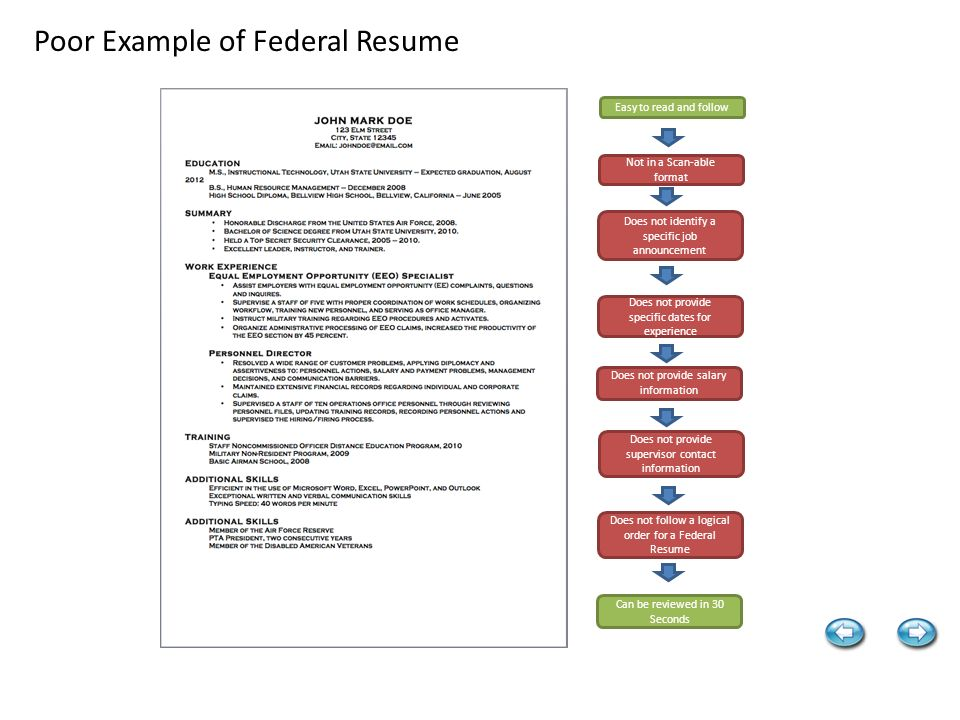 Excellent Example Of Federal Resume Easy To Read And Follow In A