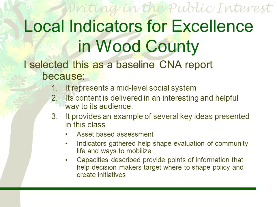 5 Local Indicators ...