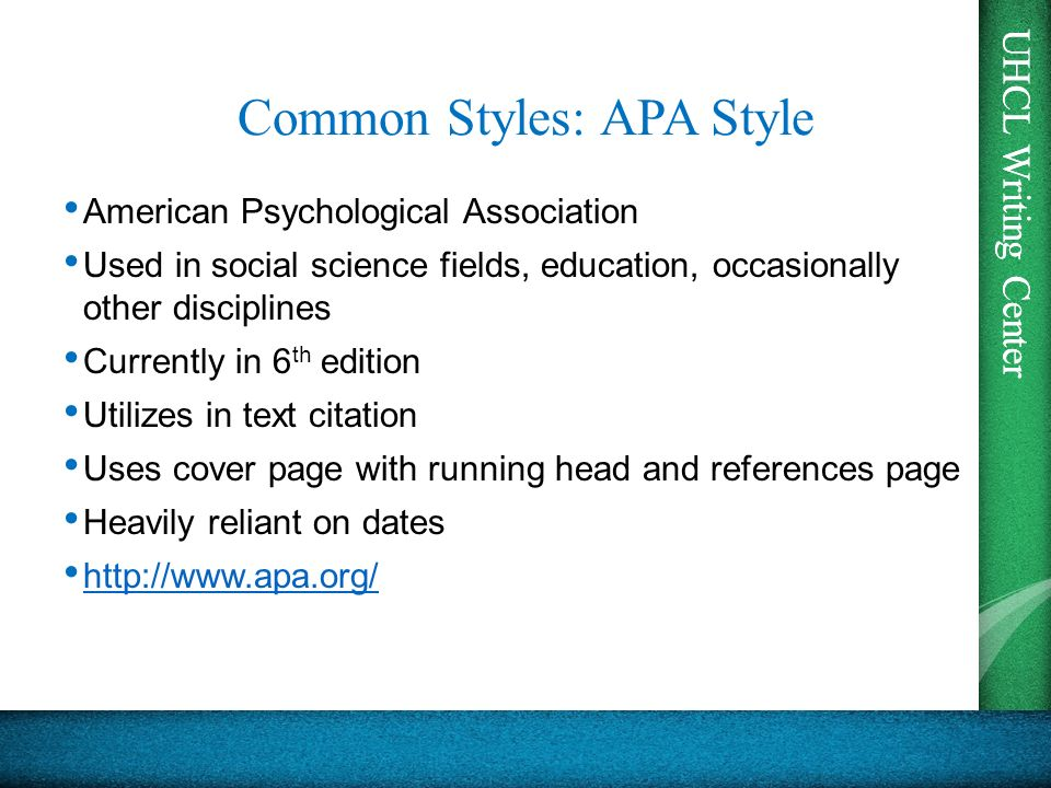 apa style web Apa (american psychological association) style is most commonly used to cite sources within the social sciences this resource, revised according to the 6th edition, second printing of the apa manual, offers examples for the general format of apa research papers, in-text citations, endnotes/footnotes, and the reference page.