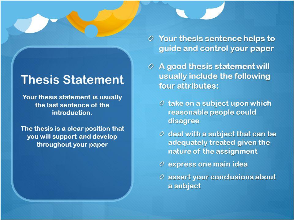 Thesis Statement Development