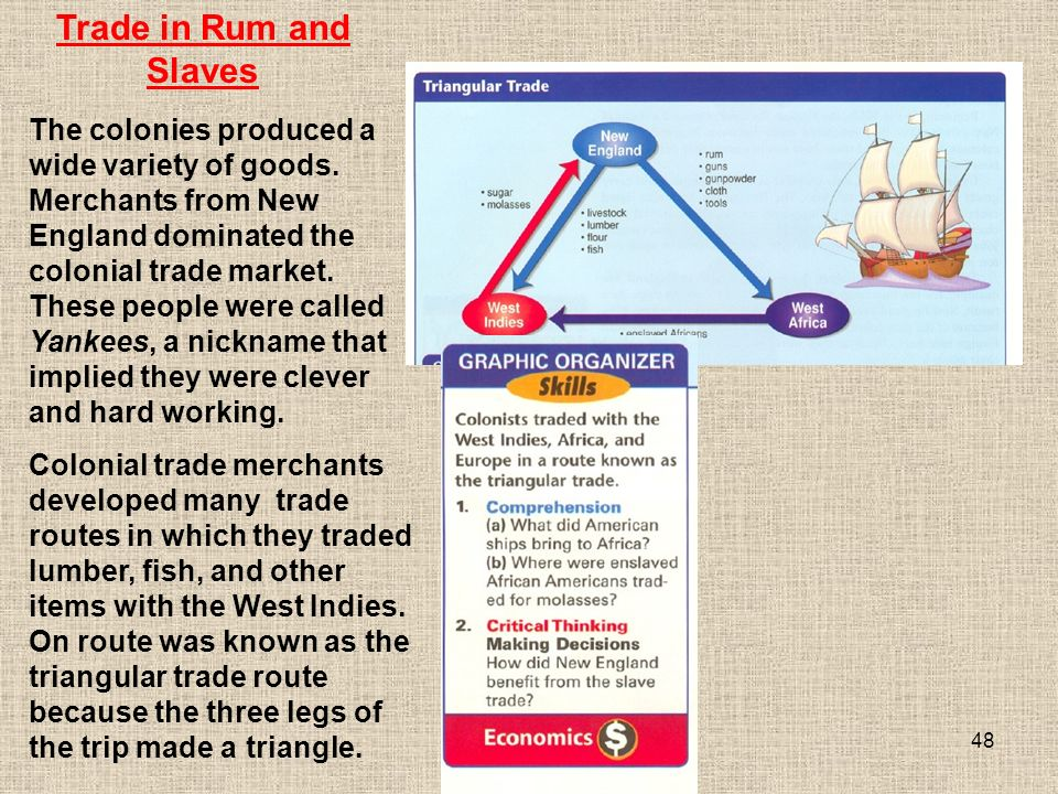 48 Colonial trade merchants developed many trade routes in which they traded lumber, fish, and other items with the West Indies.