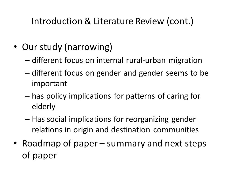 introduction of literature review The introduction is the broad beginning of the paper that answers three important questions for the reader: do this in the literature review section.