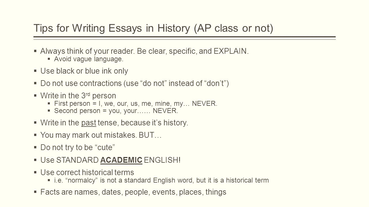 note to change the image on this slide select the picture and tips for writing essays in history ap class or not  always think of