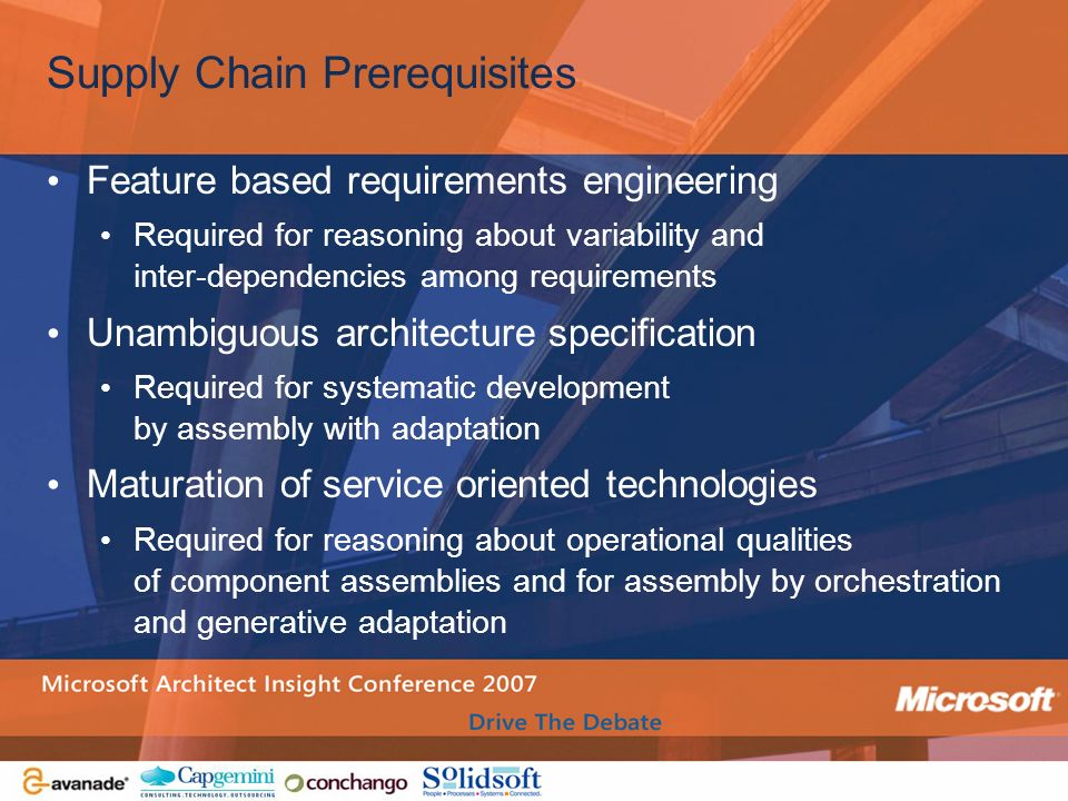 Solution Supply Chains Jack Greenfield Overview Learning From - Architecture prerequisites