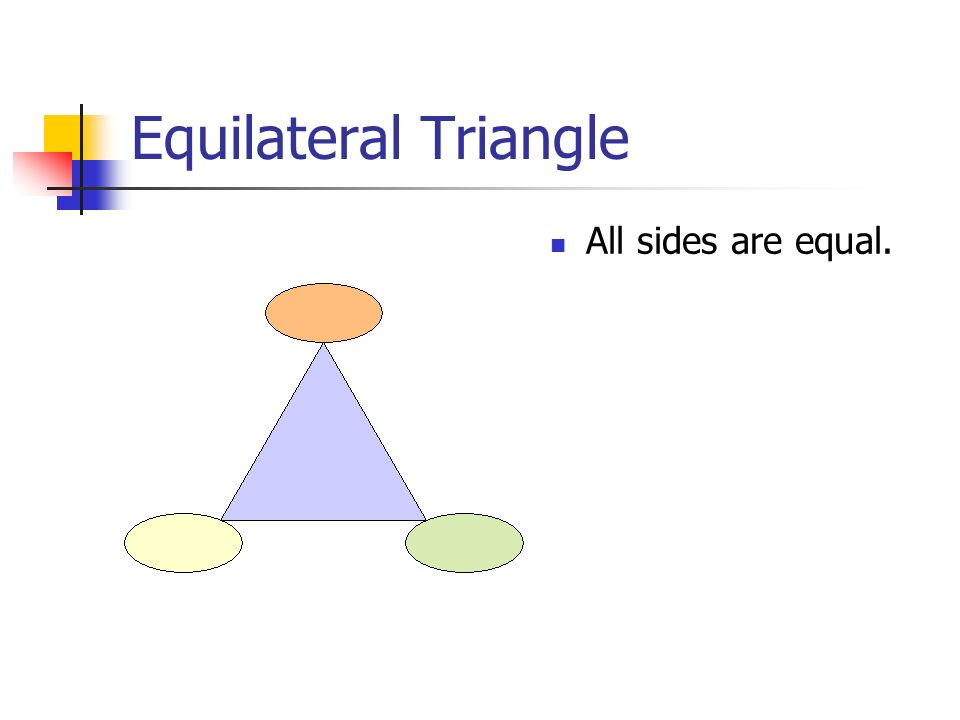 Equilateral Triangle All sides are equal.