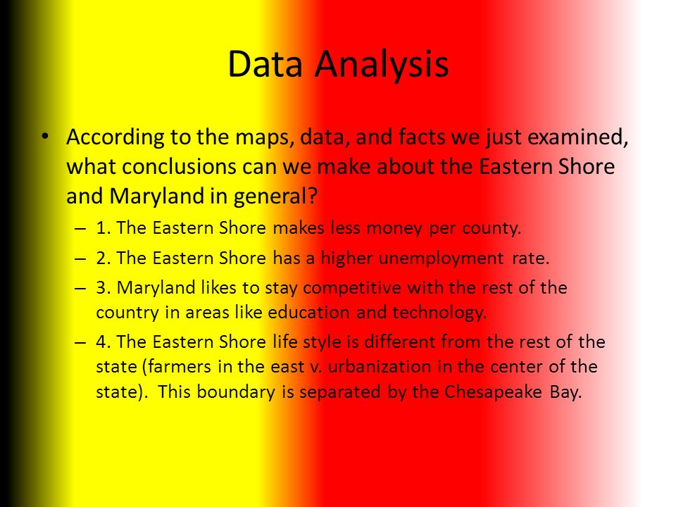 Data Analysis According to the maps, data, and facts we just examined, what conclusions can we make about the Eastern Shore and Maryland in general.