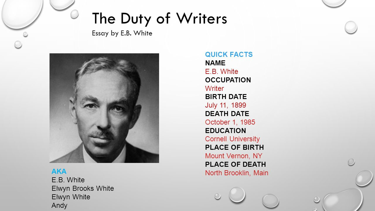 Essays Of E B White