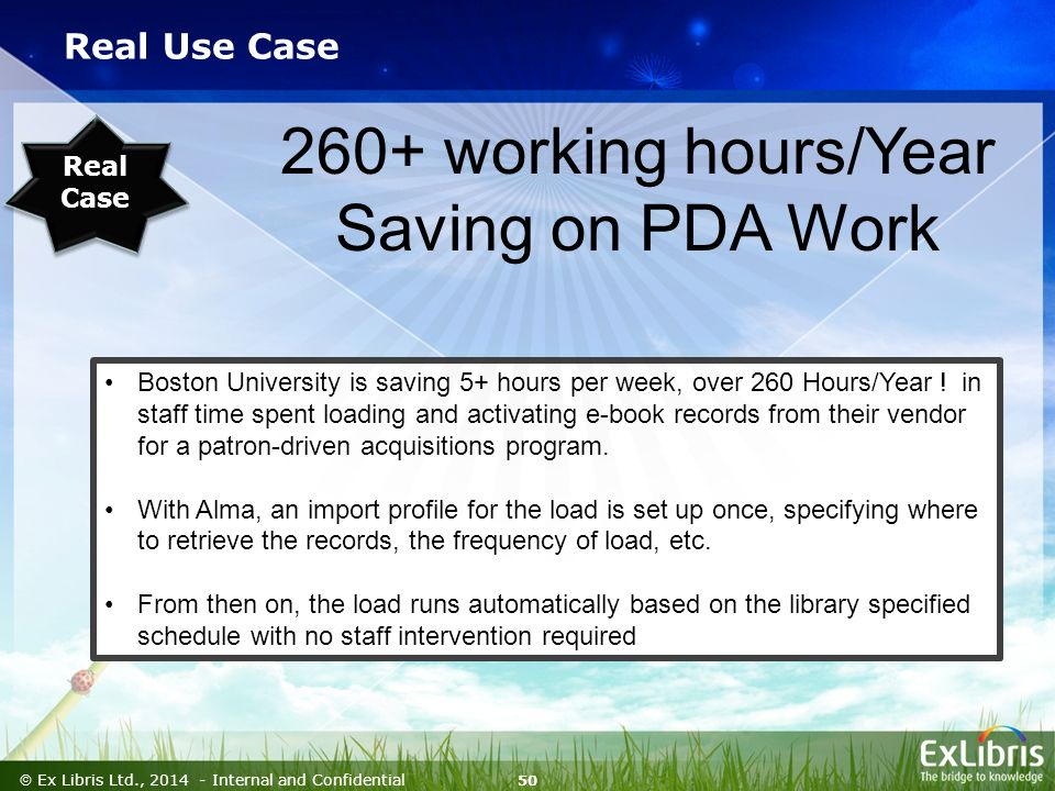 50  Ex Libris Ltd., Internal and Confidential Real Use Case Boston University is saving 5+ hours per week, over 260 Hours/Year .