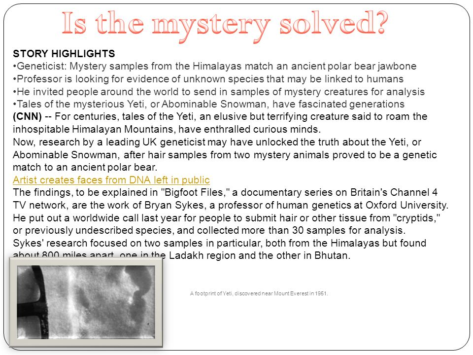 STORY HIGHLIGHTS Geneticist: Mystery samples from the Himalayas match an ancient polar bear jawbone Professor is looking for evidence of unknown species that may be linked to humans He invited people around the world to send in samples of mystery creatures for analysis Tales of the mysterious Yeti, or Abominable Snowman, have fascinated generations (CNN) -- For centuries, tales of the Yeti, an elusive but terrifying creature said to roam the inhospitable Himalayan Mountains, have enthralled curious minds.