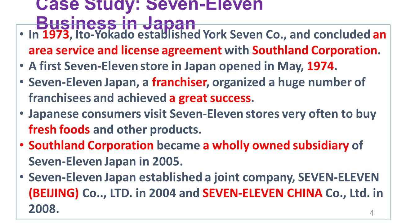 seven eleven japan essay Supply chain strategy at 7-eleven 1 supply market dominance facilities 7-eleven spread in japan 7-eleven spread in usa 7-eleven spread in hongkong 40,000.