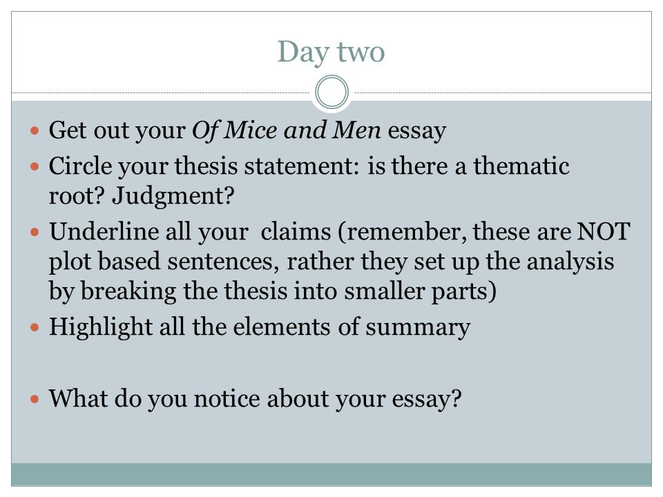"of mice and men introduction essay Persuasive essay (""five"" paragraph essay) george's correct decision in of mice and men example introduction (for george doing the right thing)."