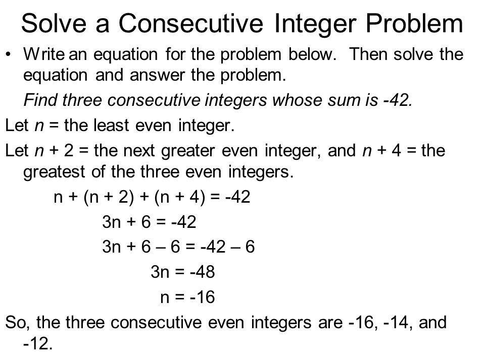 34 Solving MultiStep Equations Work backward is one of many – Consecutive Integers Worksheet
