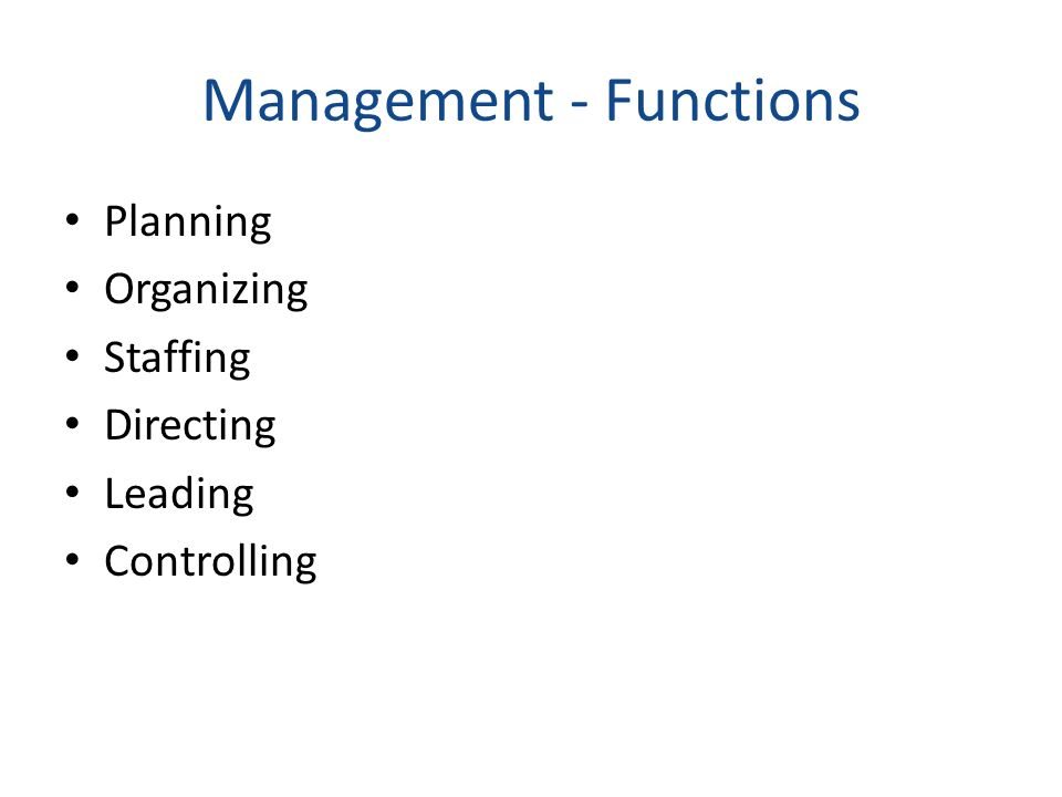 Management - Functions Planning Organizing Staffing Directing Leading Controlling