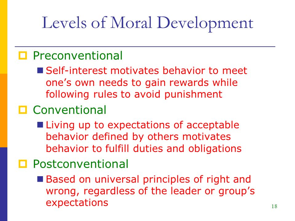 18  Preconventional Self-interest motivates behavior to meet one's own needs to gain rewards while following rules to avoid punishment  Conventional Living up to expectations of acceptable behavior defined by others motivates behavior to fulfill duties and obligations  Postconventional Based on universal principles of right and wrong, regardless of the leader or group's expectations Levels of Moral Development