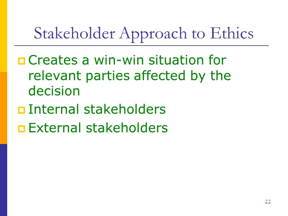 Stakeholder Approach to Ethics  Creates a win-win situation for relevant parties affected by the decision  Internal stakeholders  External stakeholders 22