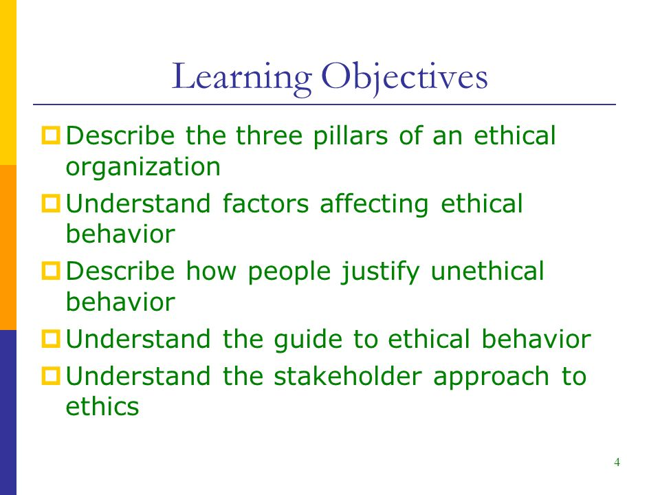 Learning Objectives  Describe the three pillars of an ethical organization  Understand factors affecting ethical behavior  Describe how people justify unethical behavior  Understand the guide to ethical behavior  Understand the stakeholder approach to ethics 4