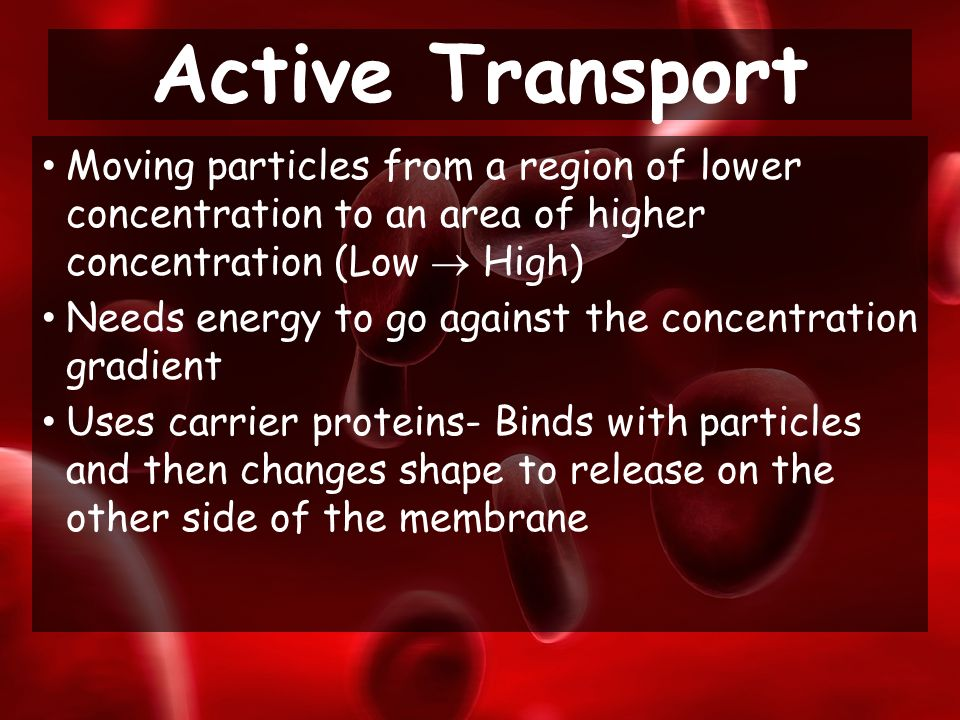 Moving particles from a region of lower concentration to an area of higher concentration (Low  High) Needs energy to go against the concentration gradient Uses carrier proteins- Binds with particles and then changes shape to release on the other side of the membrane Active Transport