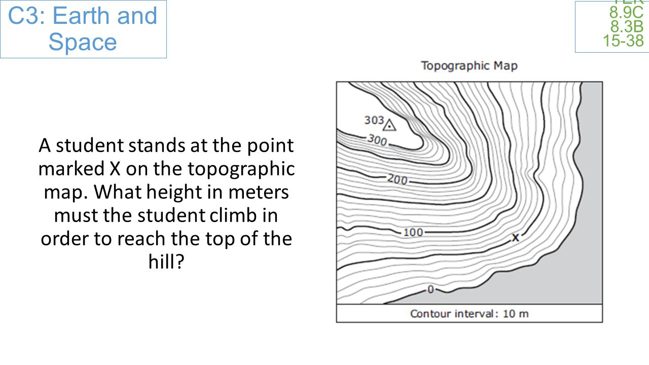 TEK 8.9C 8.3B A student stands at the point marked X on the topographic map.