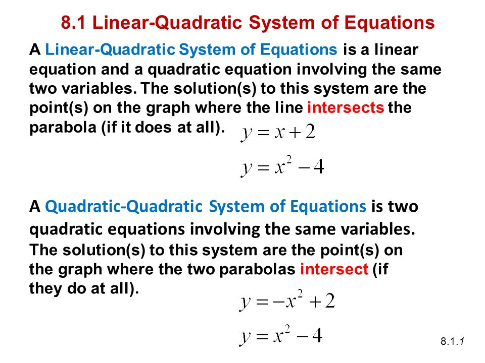 Linear Quadratic Equation Jennarocca – Systems of Linear and Quadratic Equations Worksheet