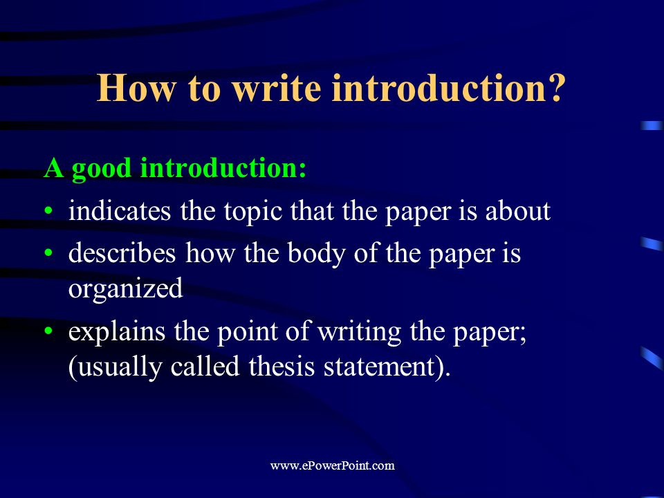 write a thesis introduction Write the introduction and conclusion add one or two more sentences that will lead the reader from your opening to your thesis statement.