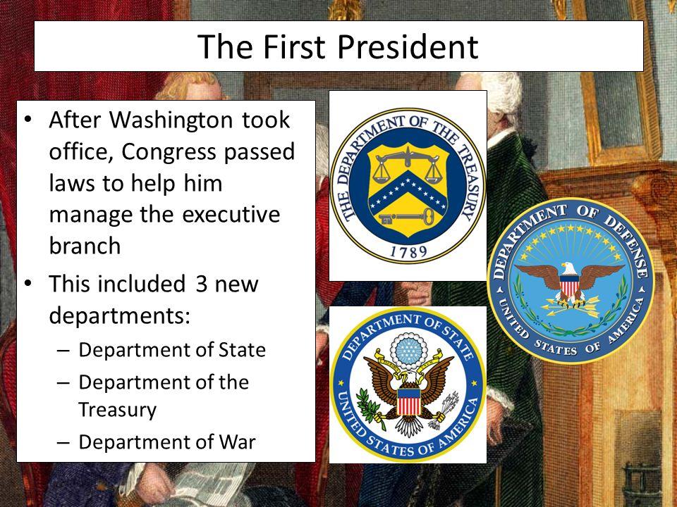 Washington Takes Office Washington's Cabinet of Advisors. - ppt ...