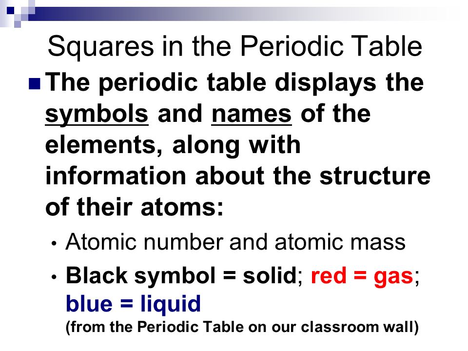 The periodic table science periodic table a table of the 13 squares in the periodic table the periodic table displays the symbols and names of the elements urtaz Image collections