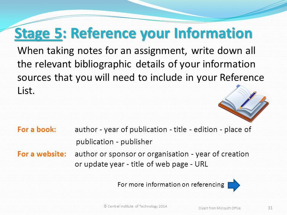 How to write reference in assignment