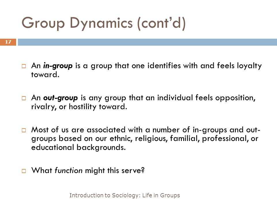 Group Dynamics (cont'd) Introduction to Sociology: Life in Groups 17  An in-group is a group that one identifies with and feels loyalty toward.