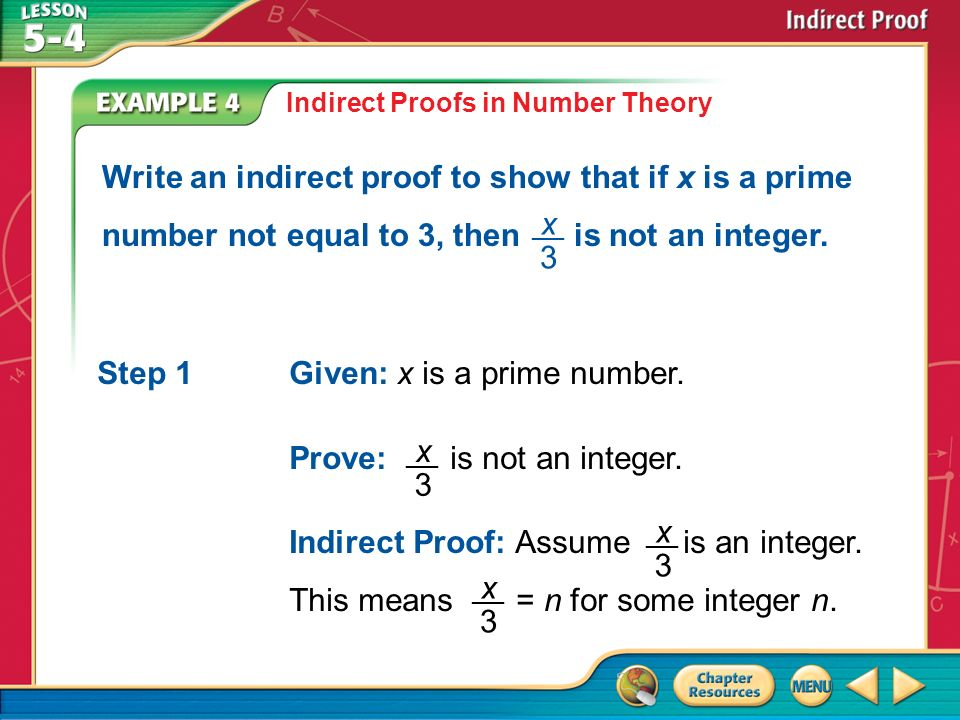 Concept Example 1 State the Assumption for Starting an Indirect – Indirect Proof Worksheet