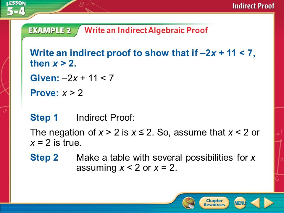 Worksheets Indirect Proof Worksheet With Answers concept example 1 state the assumption for starting an indirect 2 write algebraic proof to show that if