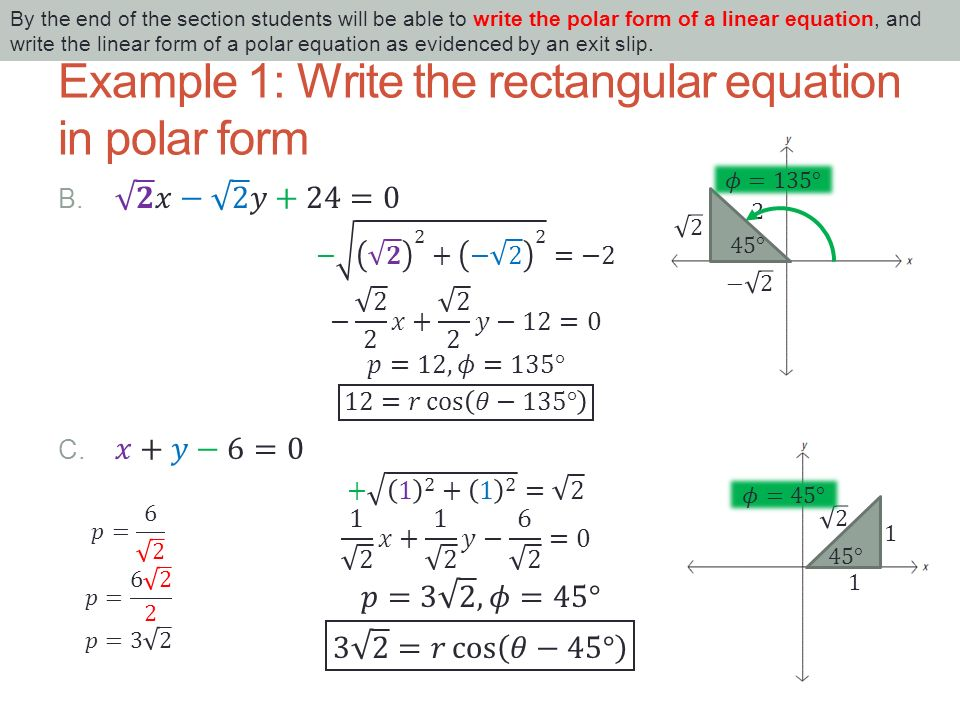 9.4 POLAR FORM OF A LINEAR EQUATION By the end of the section ...