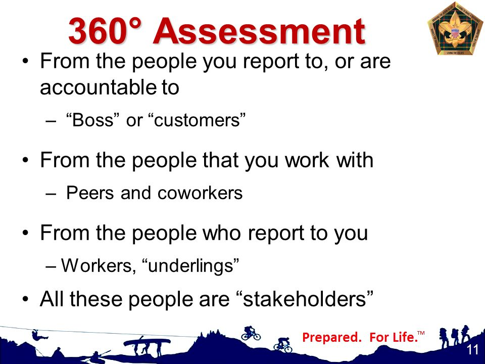 360° Assessment From the people you report to, or are accountable to – Boss or customers From the people that you work with – Peers and coworkers From the people who report to you –Workers, underlings All these people are stakeholders 11