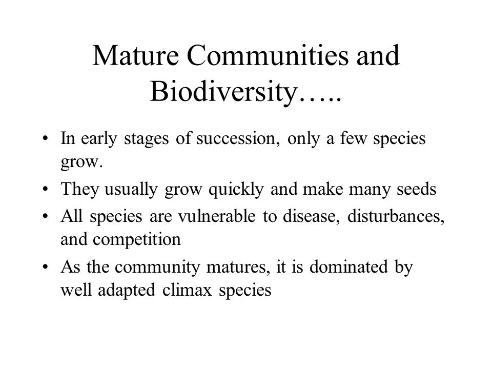 Mature Communities and Biodiversity….. In early stages of succession, only a few species grow.