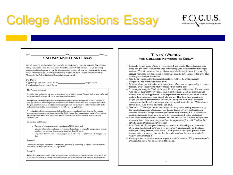 help with writing college admission essay