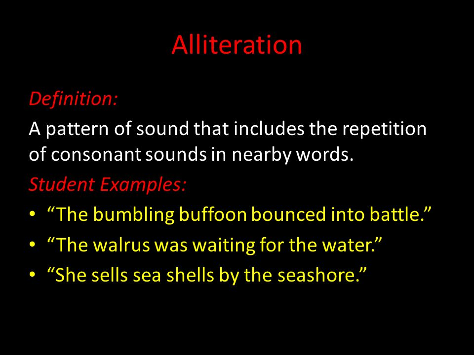 Eng3ci Poetry Unit Literary Terms Alliteration Definition A