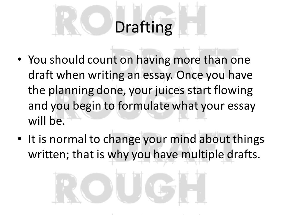 the writing process types of essays the writing process the  drafting you should count on having more than one draft when writing an essay