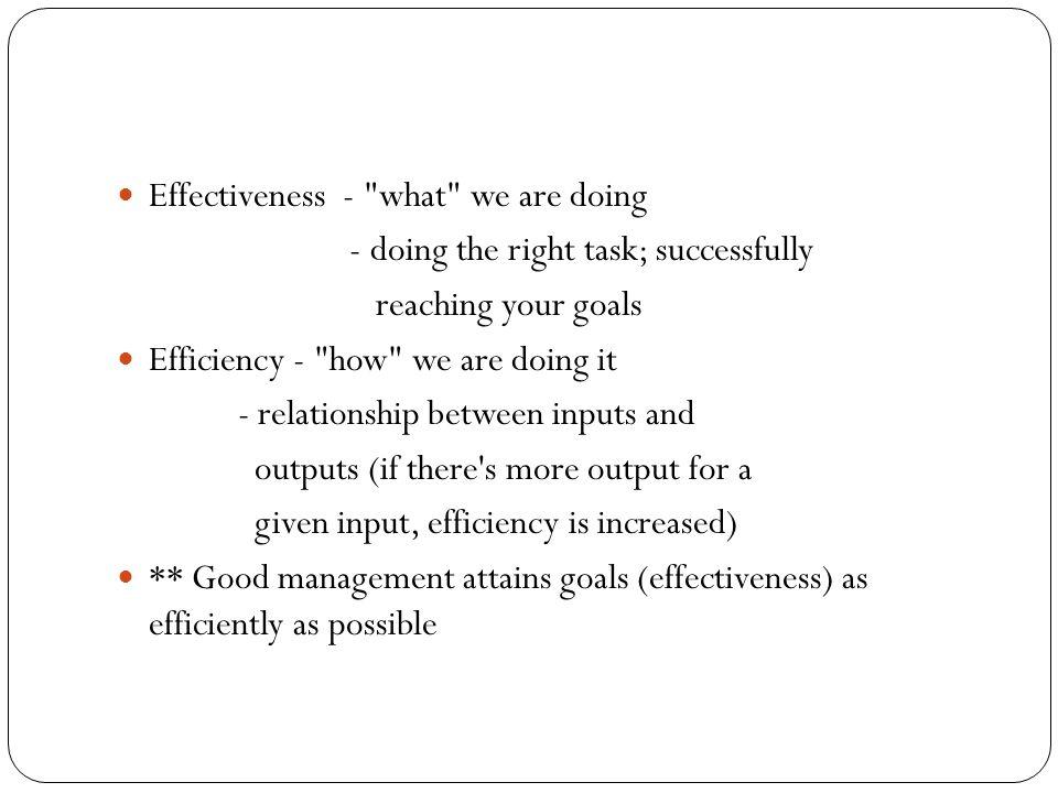 Effectiveness -