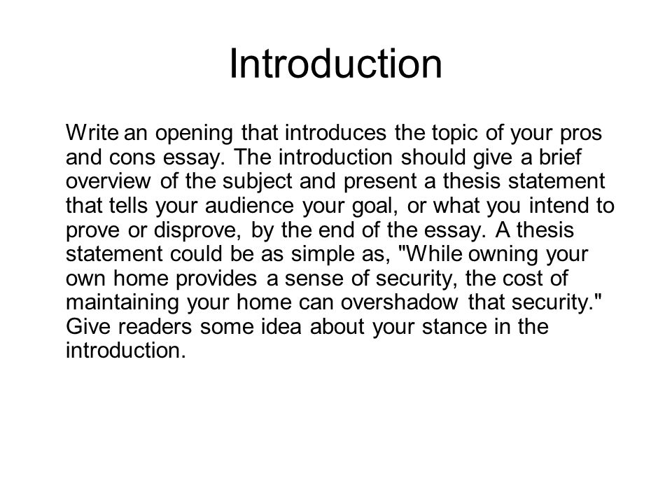 How To Write Pros And Cons Essay Example