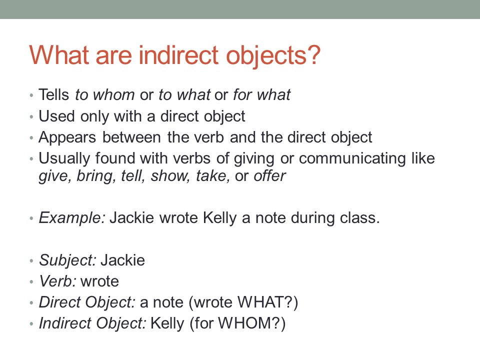 What Is An Object Or Indirect And Direct Object Qu Es Un